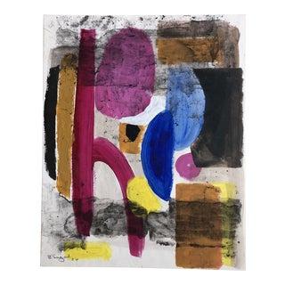 Original Vintage 1960's Bernard Segal Abstract Painting Signed For Sale