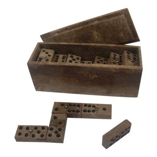 Marble Domino Set in Marble Lidded Box