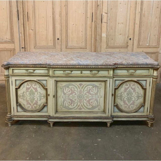 Neoclassical Antique Italian Marble Top Painted Buffet For Sale - Image 3 of 13