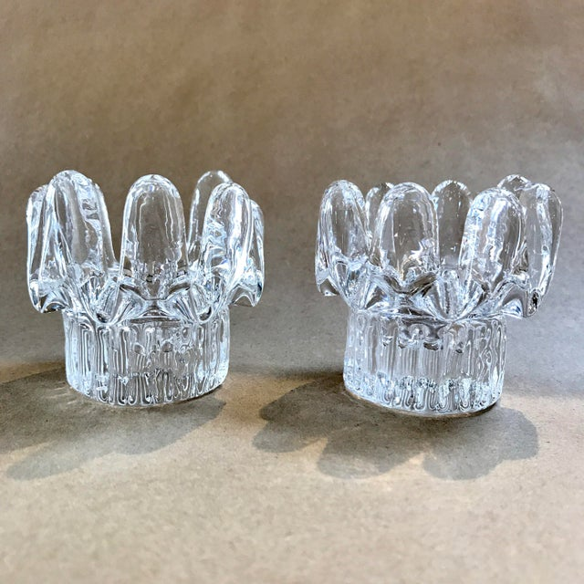 Mid-Century Modern Vintage Finnish Ice Crystal Candlesticks - A Pair For Sale - Image 3 of 8