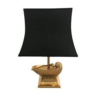1960s French brassMetal Nautilus Shell Table Lamp With Shade For Sale