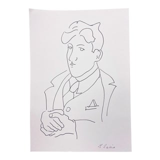 Contemporary Line Drawing of 1920s Jean Cocteau by M. Racine For Sale