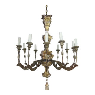 19th Century Italian Giltwood and Painted Chandelier For Sale