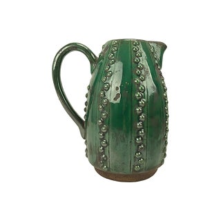 Arts and Crafts Emerald Green Ceramic Decorative Pitcher