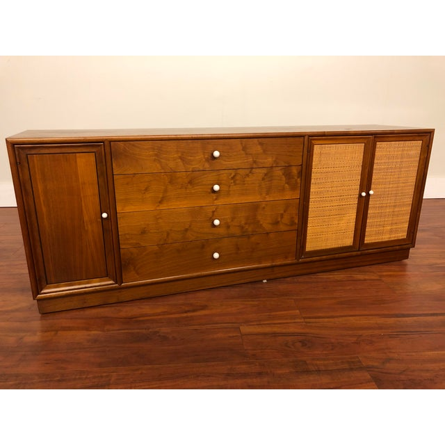 Mid-Century Modern Drexel Declaration Walnut Sideboard With Cane Accents For Sale - Image 3 of 12