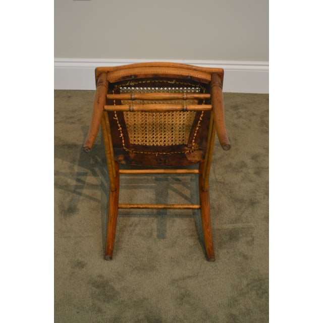 Victorian Oak Antique Spindle Back Cane Seat Pair of Side Chairs For Sale -  Image 10 - Victorian Oak Antique Spindle Back Cane Seat Pair Of Side Chairs