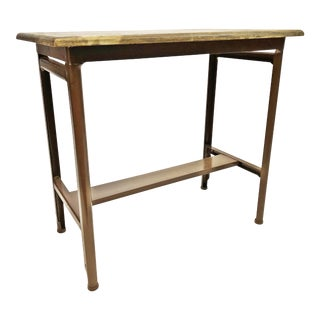 Vintage Industrial Brown Metal Side Table with Wood Top