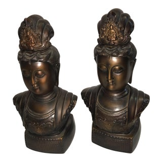 Cast Chinese Busts Bookends - A Pair