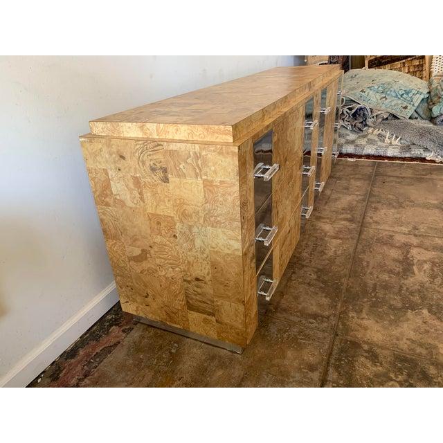 Metal Birdseye Burlwood Lucite and Chrome Dresser For Sale - Image 7 of 9