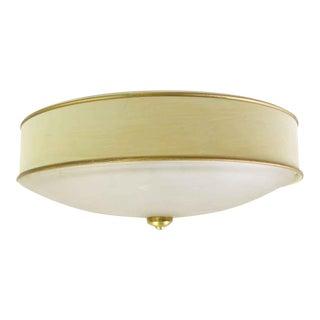 Vintage Hand Painted Flush Mount Light With Gold Leaf Gilt Details For Sale
