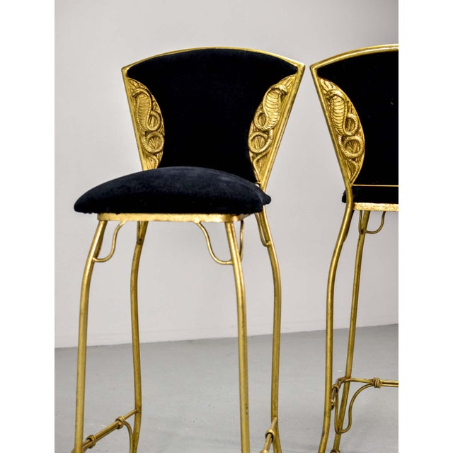 Mid-Century Italian Design Set of Gilded Forged Steel 'GOLD COBRA' Bar Stools, Set of Ten, 1970s For Sale - Image 11 of 13