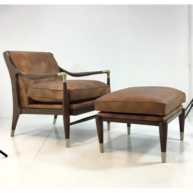 Mid-Century Modern Style Meastra Leather Chair and Ottoman By: Thomasville
