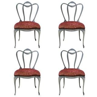 1960s Vintage Hollywood Regency Aluminum Chair Set- 4 Pieces For Sale