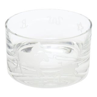 "Signed Perry Coyle for Steuben Etched Crystal Glass ""Rodeo"" Bowl For Sale"