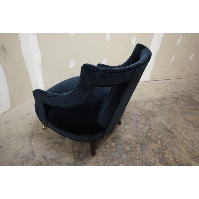 Gio Ponti 1950s Italian Gio Ponti Era Black Velvet Gondola Chairs - a Pair For Sale - Image 4 of 13