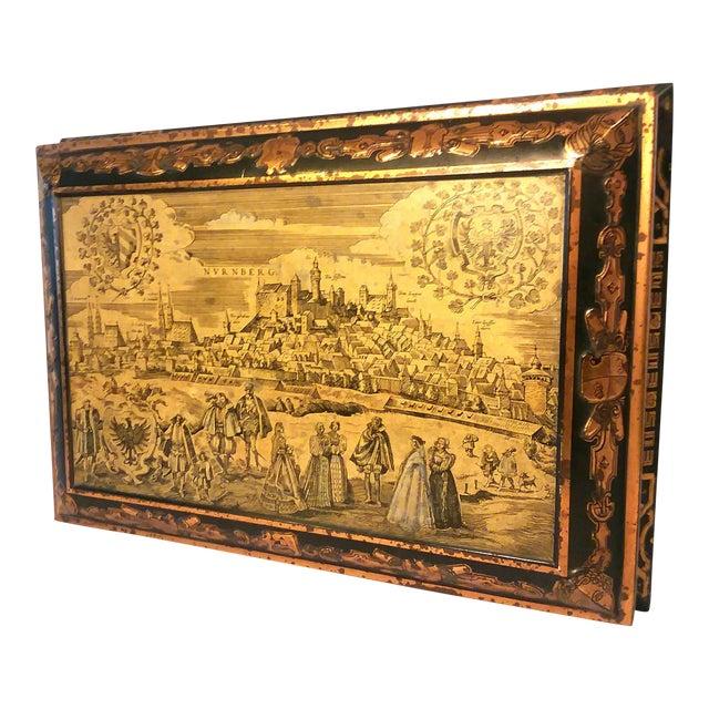 Antique E. Otto Schmidt Nuremberg Large Biscuit Tin - Medieval Scenes For Sale