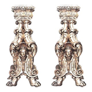 19th Century Italian Baroque Style Gilt-Wood Pedestals - a Pair For Sale