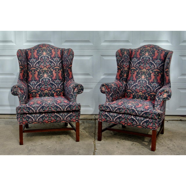 1970s Vintage Wingback Upholstered Chairs- A Pair For Sale - Image 11 of 11