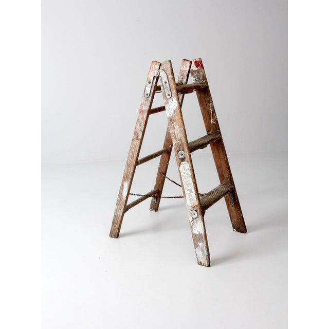 Vintage Wooden Folding Ladder For Sale - Image 9 of 11
