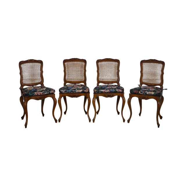 Vintage Carved Walnut Dining Chairs - Set of 4 - Image 1 of 10