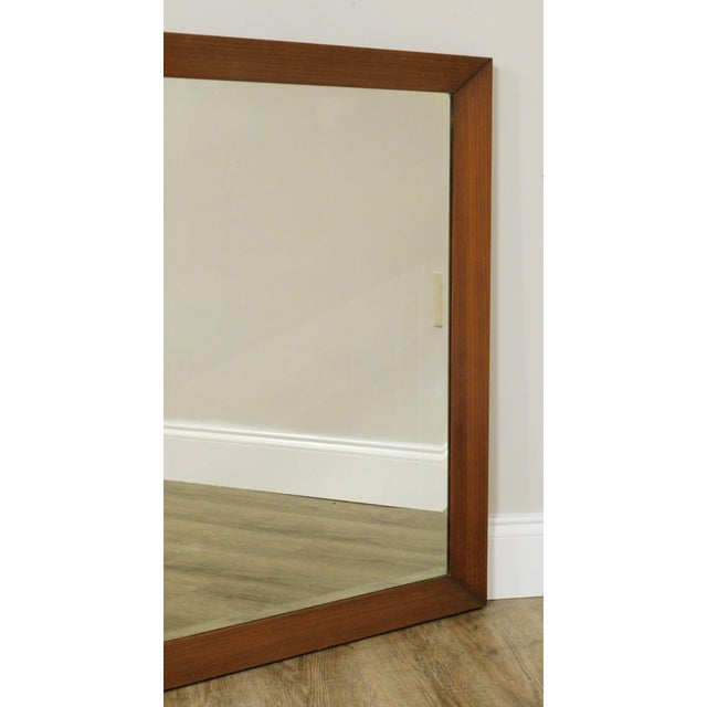 Mid Century Vintage Walnut Frame Beveled Wall Mirror For Sale - Image 9 of 13