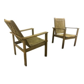 French Riviera Style Pair of Reclining Rope Lounge Chair For Sale