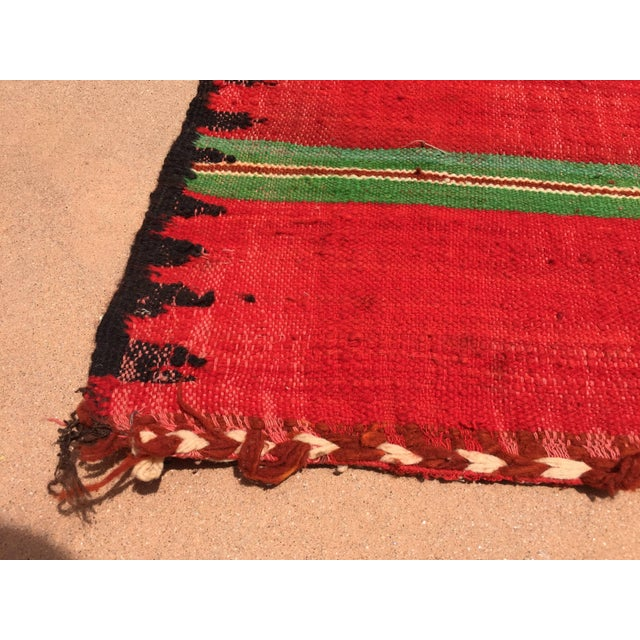 Islamic Moroccan Vintage Flat-Weave Rug For Sale - Image 3 of 9