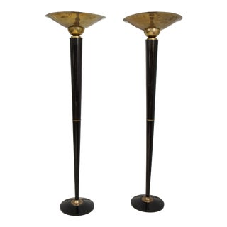 Pair of Ebonized Brass Torchieres/Floor Lamps in the Art Deco Manner For Sale