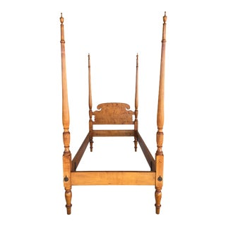 Antique Tiger Maple Reeded Tester Poster Custom Twin Bed For Sale