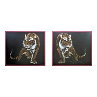 Pair Vintage Chinese Tiger Paintings on Black Silk With Faux Bamboo Wood Frames - Asian Mid Century Modern Palm Beach Boho Chic Animal Leopard Cheetah For Sale
