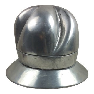 1930s Cast Aluminum Helmet Mounted on Walnut Stand For Sale
