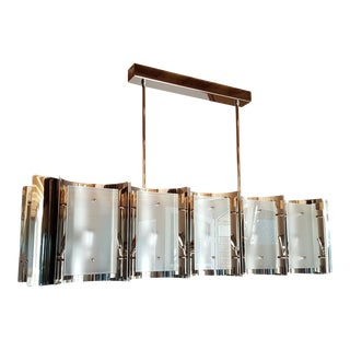 Mid-Century Modern Style Dlightus Bespoke Nickel and Frosted Glass Chandelier For Sale