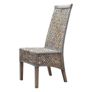 """Angela"" Woven Rattan High-Back Dining Chair From Indonesia For Sale"