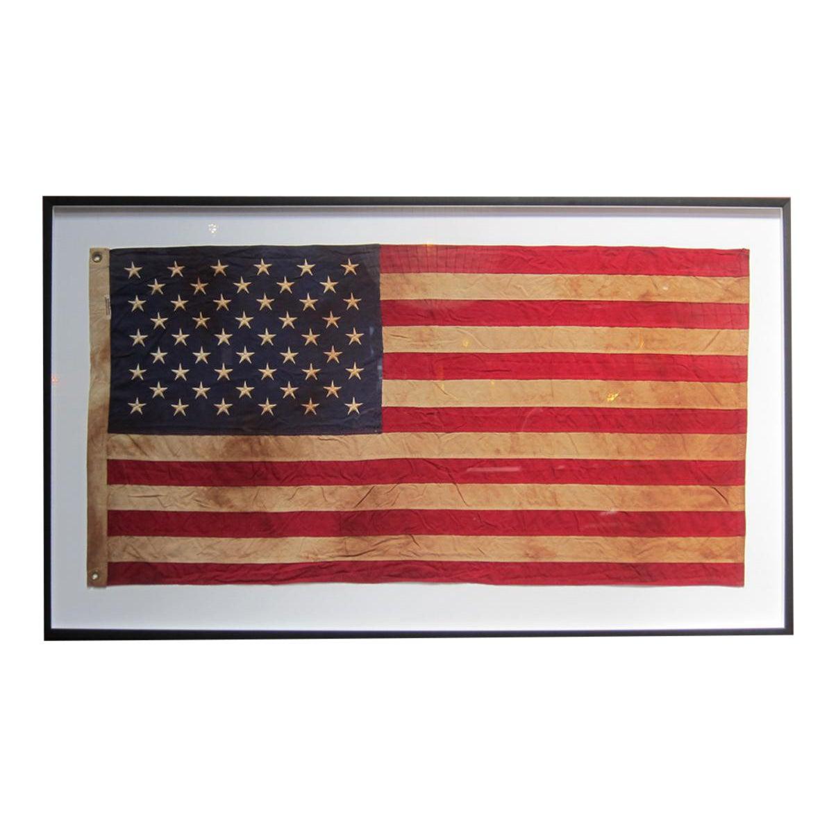 Framed Vintage American Flag | Chairish
