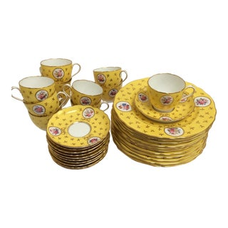 Vintage Spode China Set Yellow With Flowers - Set of 33 For Sale