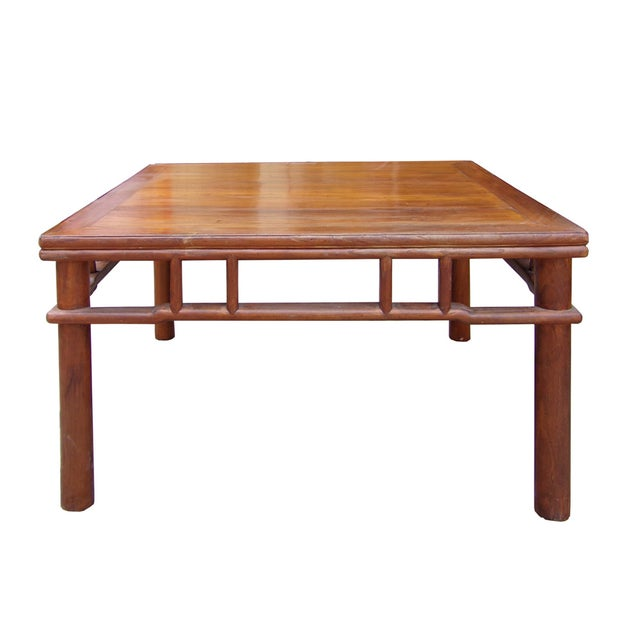 Chinese Ming Style Round Legs Square Coffee Table - Image 4 of 6