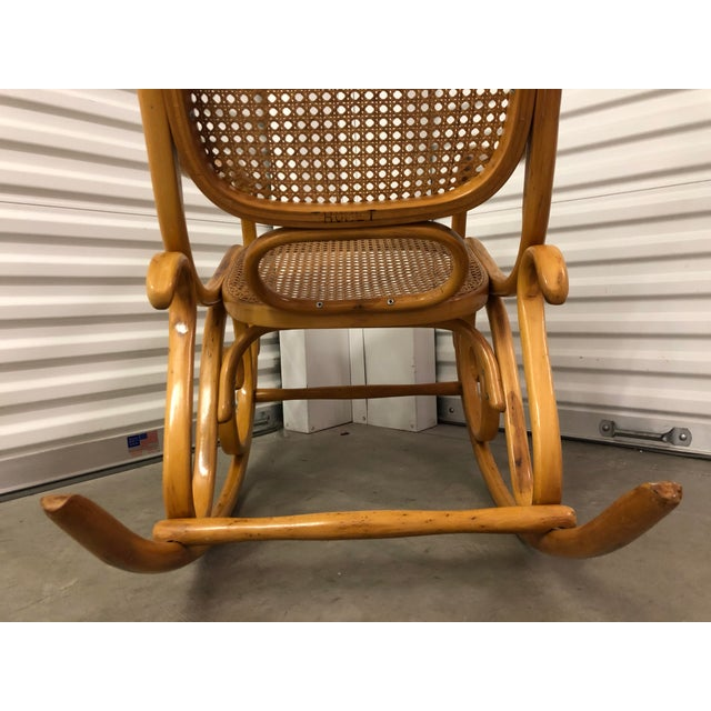 Thonet 19th Century Thonet Bentwood & Cane Wood Rocker Rocking Chair For Sale - Image 4 of 13