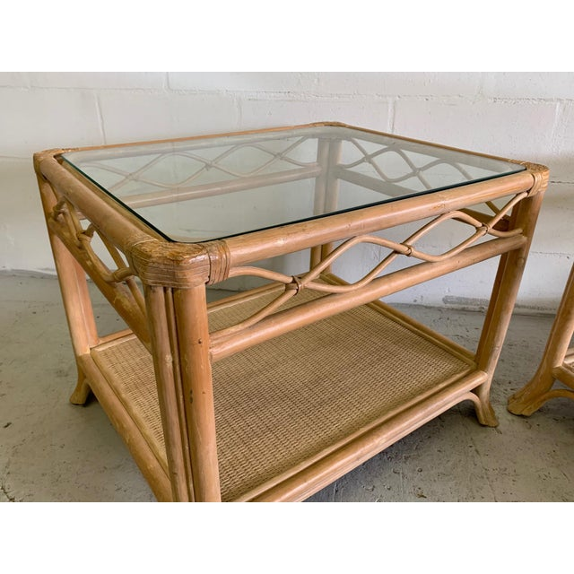 1980s Rattan and Glass End Tables, a Pair For Sale - Image 5 of 7