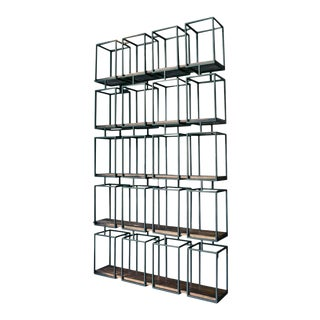 Crafters and Weavers Veinte Industrial Modern Bookcase/Room Divider For Sale