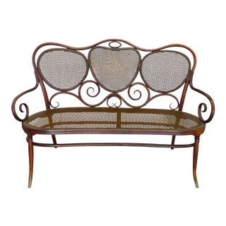 Late 19th Century Vintage Gebruder Thonet Bentwood Austrian Art Nouveau Settee For Sale