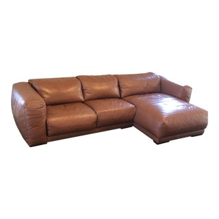 Modern American Leather Fine Leather Brown Sectional Sofa For Sale