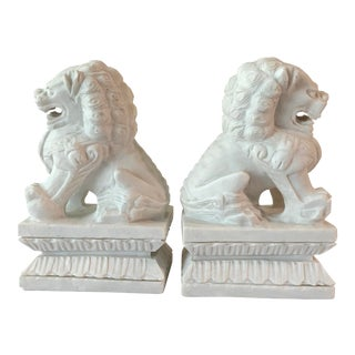 Solid White Marble Foo Dog Bookends - a Pair For Sale