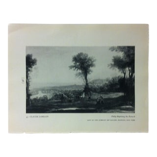 "Circa 1940 ""Philip Baptizing the Eunuch"" by Claude Lorrain a Masterpiece of Art Print For Sale"