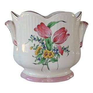 1980s Vintage Luneville Old Strasbourg Rose & Tulip Cachepot For Sale