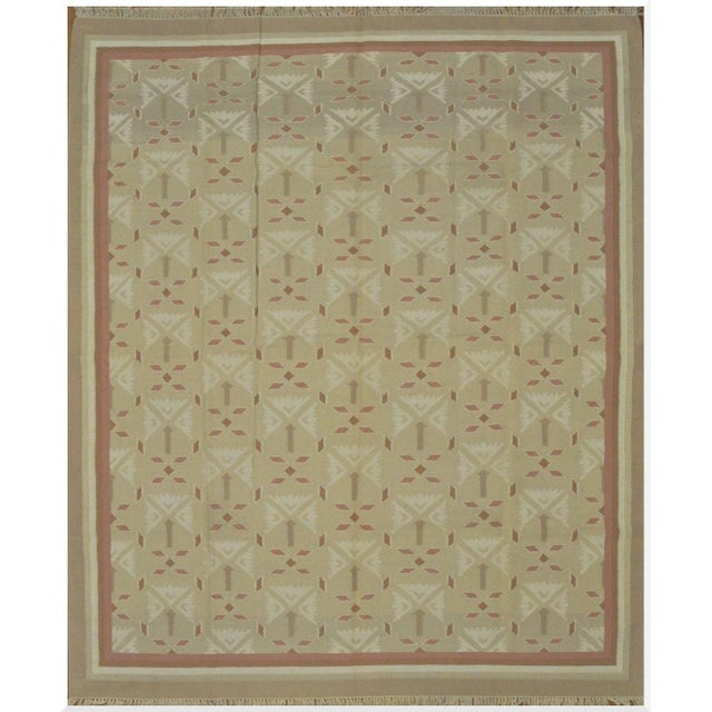 Flat Weave Indian Dhurrie Rug - 8'2'' x 10' For Sale