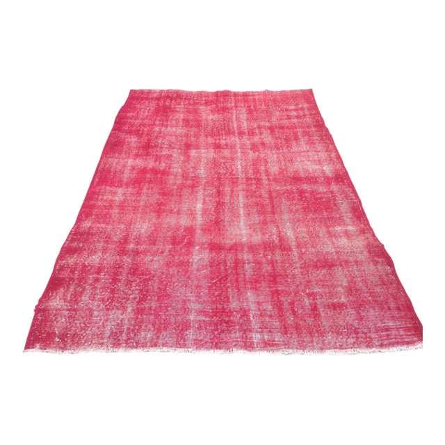 "Turkish Pink Overdyed Handknotted Rug -- 5'10"" x 9'10"" For Sale"