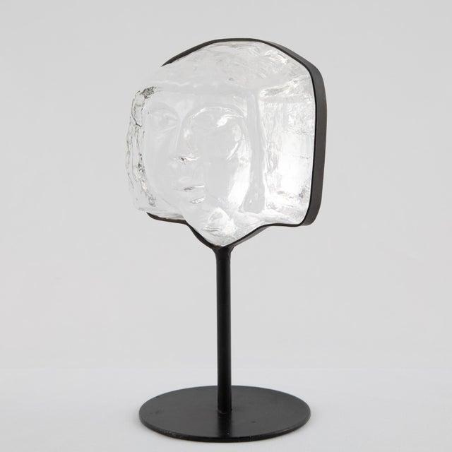 Erik Höglund Glass Face Sculpture on Iron Stand by Erik Hoglund for Kosta Boda Circa 1960s For Sale - Image 4 of 12