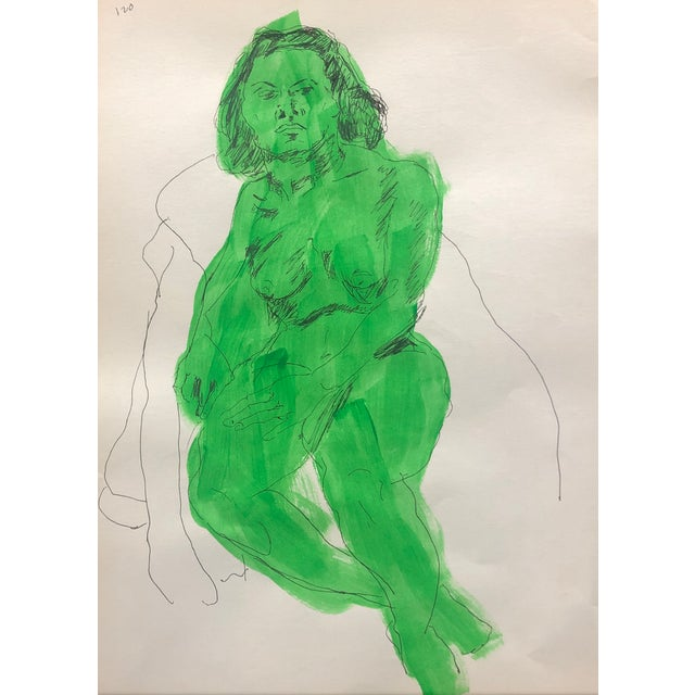Mid-Century Modern Female Nude in Green For Sale