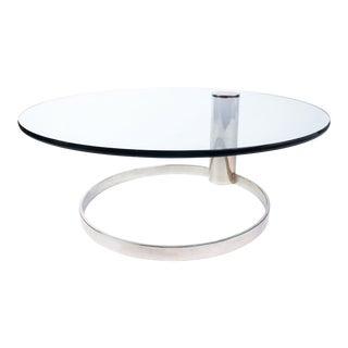 1970s Minimalist Leon Rosen for Pace Round Glass and Chrome Coffee Table For Sale