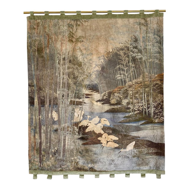 Antique Japanese Scenic Crane Bamboo Silk Hanging Wall Tapestry For Sale